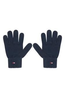 Kids Navy Organic Cotton Flag Knit Gloves