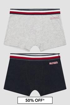 Tommy Hilfiger Boys Grey & Navy Organic Cotton Boxer Shorts Set
