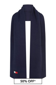 Kids Navy Cotton And Wool Flag Scarf