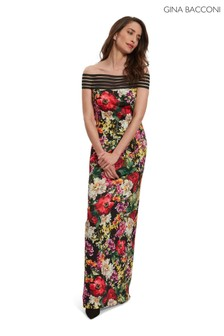 Gina Bacconi Red Leilyn Scuba Maxi Dress