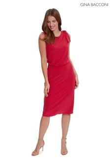Gina Bacconi Red Estefani Jersey Dress With Shoulder Tie