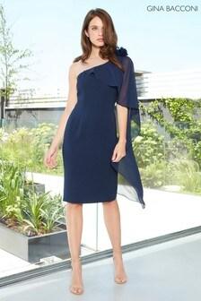 Gina Bacconi Blue Ashley Crepe And Chiffon Cape Dress