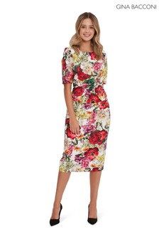 Gina Bacconi Red Cybil Floral Scuba Dress