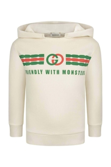 Kids Ivory Cotton Hooded Sweater
