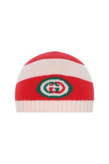 GUCCI Kids GUCCI Baby Hat - Red Striped Cotton Baby Hat