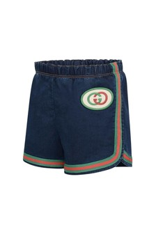 GUCCI Kids Blue Jersey Denim Shorts