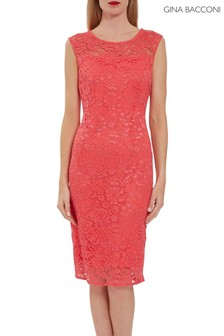 Gina Bacconi Orange Liviana Corded Lace Sheath Dress