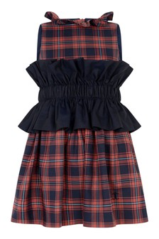 Girls Red Tartan Cotton Dress