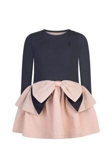 Girls Pink Jacquard Dress