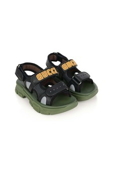 Kids Black Leather & Mesh Sandals