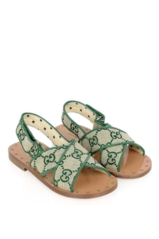 Girls Green GG Canvas Sandals