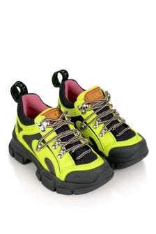 Kids Grey/Neon Yellow Trainers