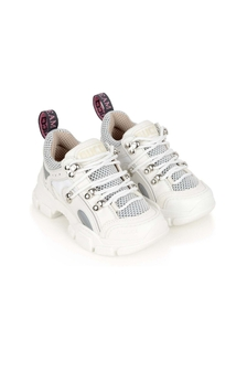 Kids White Flash Trek Trainers
