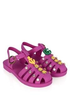 Girls Pink Rubber Sandals