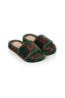 Kids Green/Red Terry Cloth Sliders
