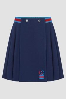 GUCCI Kids Girls Navy Cotton Pique Skirt