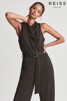 REISS Womens Green Milo Fine Wool Blend Cowl Neck Jumpsuit
