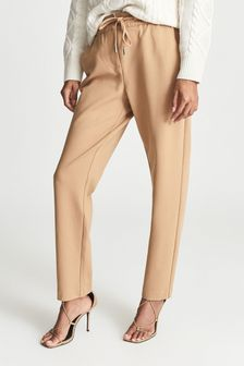 REISS Womens Brown Eve Pull On Formal Joggers