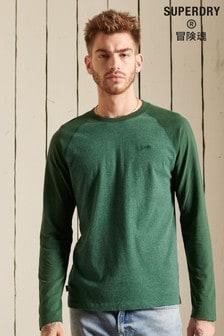 Superdry Green Organic Cotton Vintage Baseball Long Sleeved Top