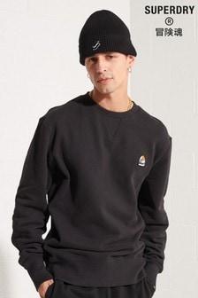 Superdry Mens Black Yama Shield Graphic Crew Sweatshirt