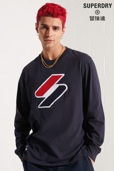 Superdry Blue Code Logo Chenille Long Sleeved Top
