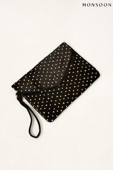 Monsoon Black Velvet Embellished Clutch Bag