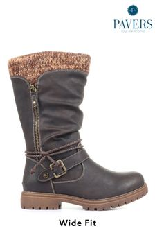 Pavers Ladies Brown Wide Fit Casual Mid-Calf Boots