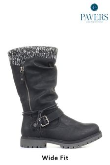 Pavers Ladies Black Wide Fit Casual Mid-Calf Boots