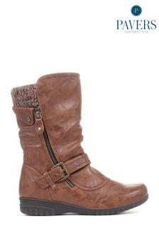Pavers Ladies Brown Calf Boots