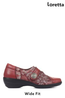 Loretta Ladies Red Wide Fit Floral Leather Shoes