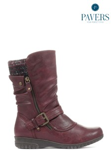 Pavers Ladies Red Calf Boots