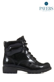Pavers Ladies Black Lace-Up High Shine Ankle Boots