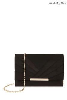 Accessorize Black Satin Clutch Bag