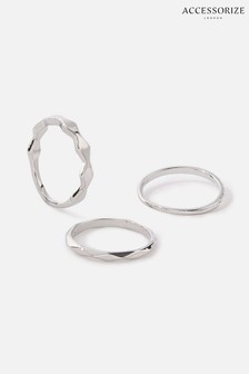 Accessorize Silver Platinum-Plated Ring Set