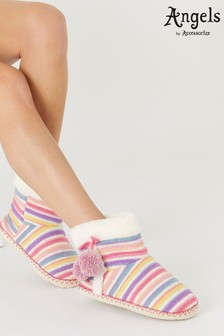 Angels By Accessorize Natural Stripe Knit Slipper Boots