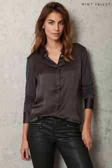 Mint Velvet Grey Silk Front Shirt