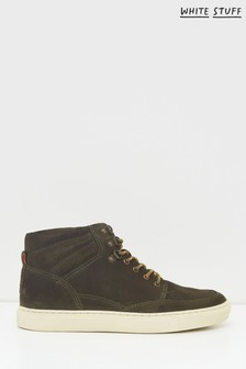 White Stuff Green Woody Suede High Top Trainers