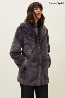 Phase Eight Grey Meg Faux-Fur Coat