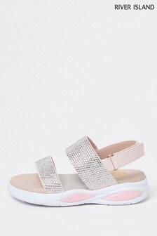 River Island Pink Diamanté Dual Bubble Sandals