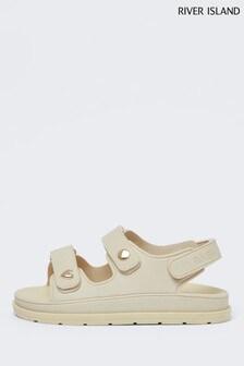River Island Cream Velcro Strap Jelly Sandals