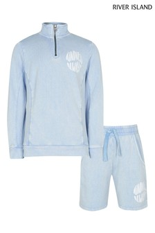 River Island Blue Washed Funnel Sweat And Shorts Set