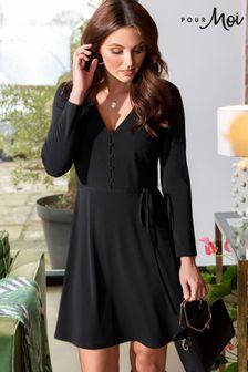 Pour Moi Bella Slinky Recycled Jersey Long Sleeve Tea Dress