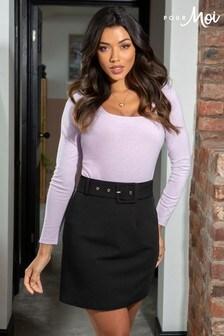 Pour Moi Ava Belted Woven Mini Skirt