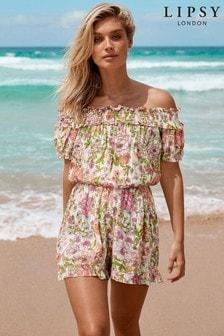 Lipsy Shirred Bardot Floral Playsuit