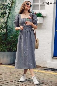 Love & Roses Puff Sleeve Shirred Bodice Midi Dress