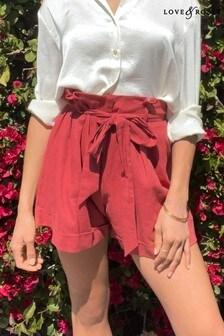 Love & Roses High Waist Paper Bag Linen Shorts
