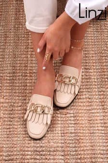 Linzi Slip On Loafer Mule With Gold Trim And Fringe Detail