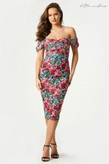 Little Mistress Alora Floral Print Lace Midi Dress