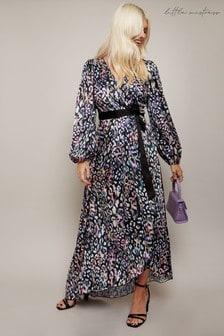 Little Mistress Zaire Leopard Print Satin Asymmetric Maxi Wrap Dress