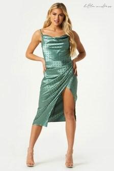 Little Mistress Sabrin Polka Dot Satin Mock Wrap Midi Dress